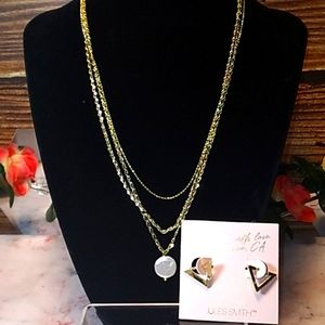 Layered Mother of Pearl necklace Huggie Earrings Set by Jules Smith